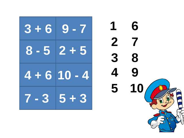 3 + 6 8 - 5 4 + 6 7 - 3 9 - 7 2 + 5 10 - 4 5 + 3 1 2 3 4 5 6 7 8 9 10