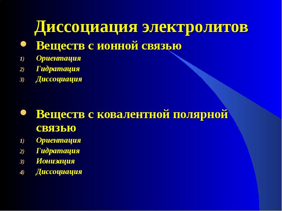 Диссоциация электролитов Веществ с ионной связью Ориентация Гидратация Диссоц...