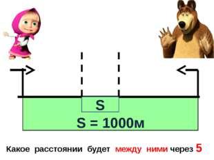 S = 1000м Какое расстоянии будет между ними через 5 мин? S