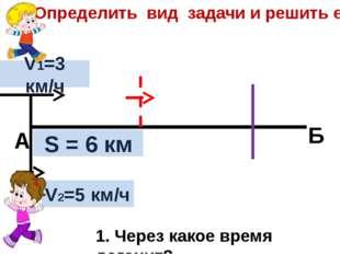 V2=5 км/ч V1=3 км/ч S = 6 км А Б 1. Через какое время догонит? Определить вид