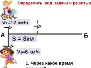 V2=6 км/ч V1=12 км/ч S = 8км А Б Определить вид задачи и решить её. 1. Через