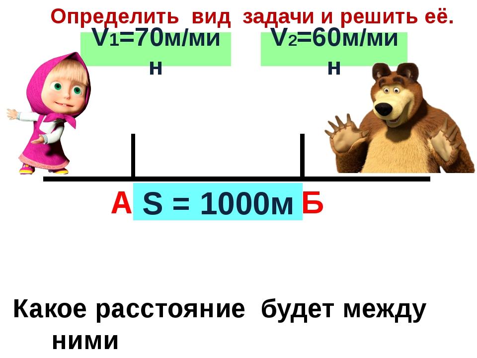 А Б Определить вид задачи и решить её. S = 1000м V1=70м/мин V2=60м/мин Какое...
