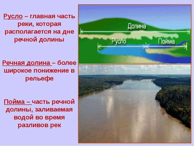 Русло – главная часть реки, которая располагается на дне речной долины Речна...