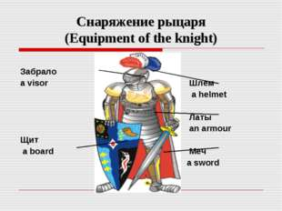 Снаряжение рыцаря (Equipment of the knight) Забрало a visor Щит a board Шлем