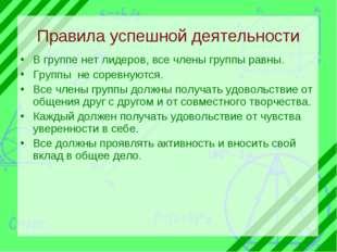 Правила успешной деятельности В группе нет лидеров, все члены группы равны. Г