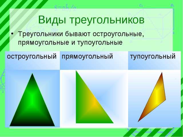 Виды треугольников Треугольники бывают остроугольные, прямоугольные и тупоуго...