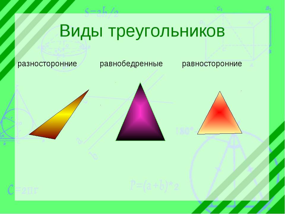 Виды треугольников разносторонниеравнобедренныеравносторонние