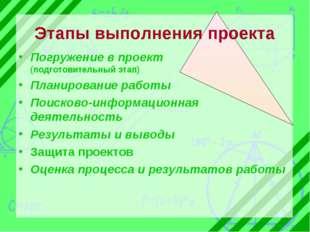 Этапы выполнения проекта Погружение в проект (подготовительный этап) Планиров