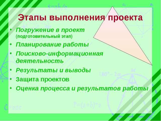 Этапы выполнения проекта Погружение в проект (подготовительный этап) Планиров...