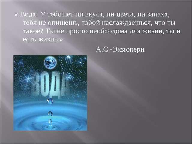 « Вода! У тебя нет ни вкуса, ни цвета, ни запаха, тебя не опишешь, тобой насл...