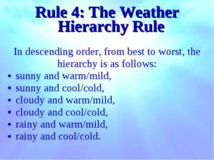 Rule 4: The Weather Hierarchy Rule In descending order, from best to worst, t