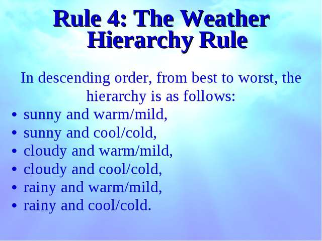 Rule 4: The Weather Hierarchy Rule In descending order, from best to worst, t...