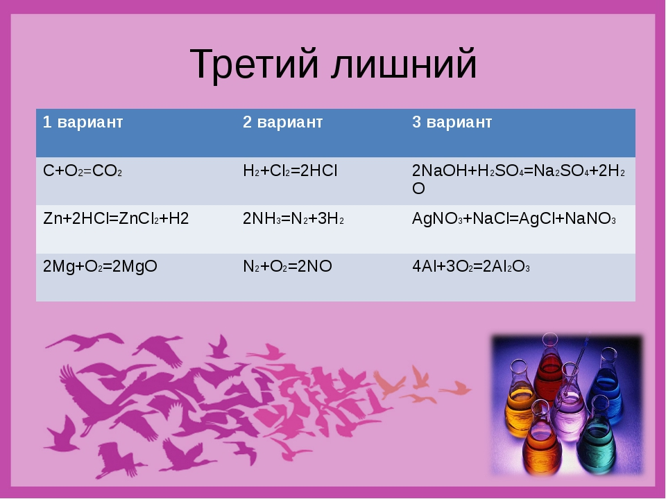 Третий лишний 1 вариант2 вариант3 вариант C+O2=CO2H2+Cl2=2HCl2NaOH+H2SO4=...