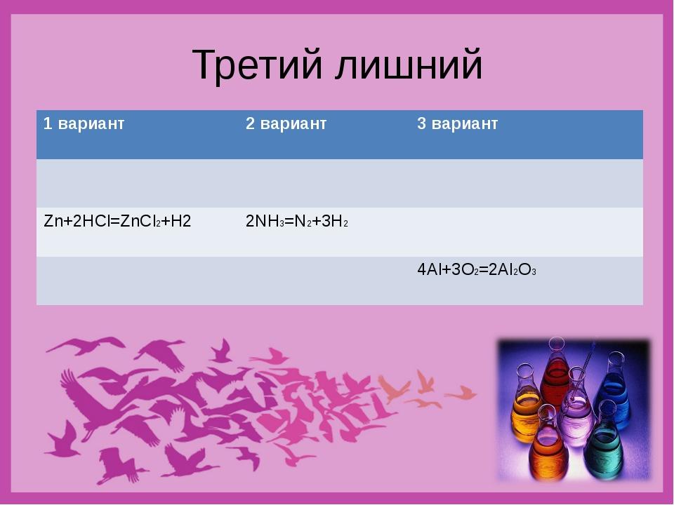 Третий лишний 1 вариант2 вариант3 вариант  Zn+2HCl=ZnCl2+H22NH3=N2+3H2...