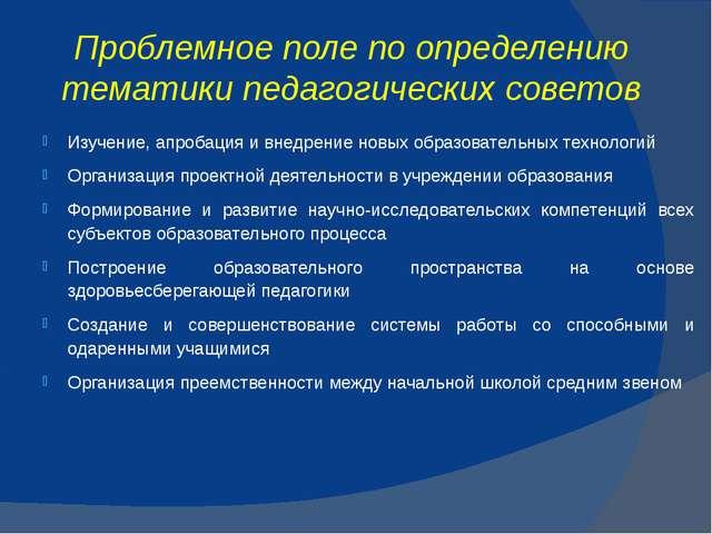 Проблемное поле по определению тематики педагогических советов Изучение, апро...
