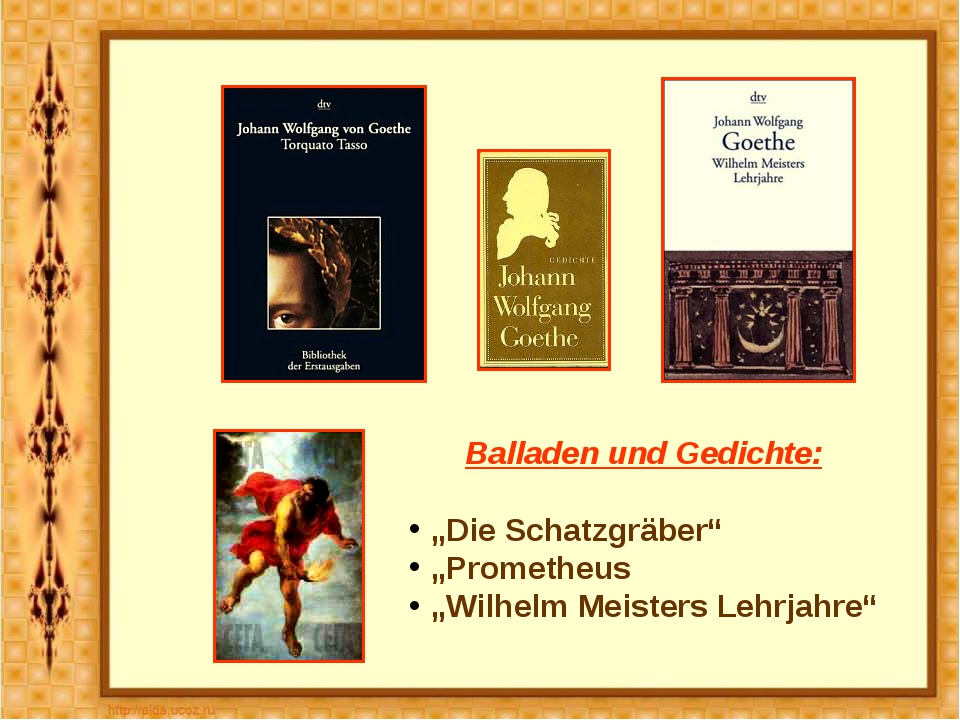 """Balladen und Gedichte: """"Die Schatzgräber"""" """"Prometheus """"Wilhelm Meisters Lehrj..."""