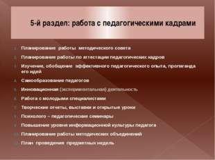 5-й раздел: работа с педагогическими кадрами Планирование работы методическог