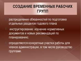 СОЗДАНИЕ ВРЕМЕННЫХ РАБОЧИХ ГРУПП распределение обязанностей по подготовке отд