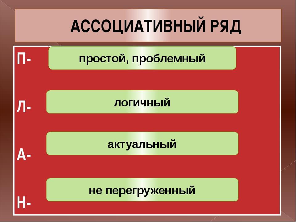 АССОЦИАТИВНЫЙ РЯД П- Л- А- Н- простой, проблемный логичный актуальный не пере...