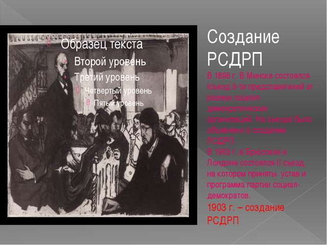 Создание РСДРП В 1898 г. В Минске состоялся Iсъезд 9-ти представителей от раз...