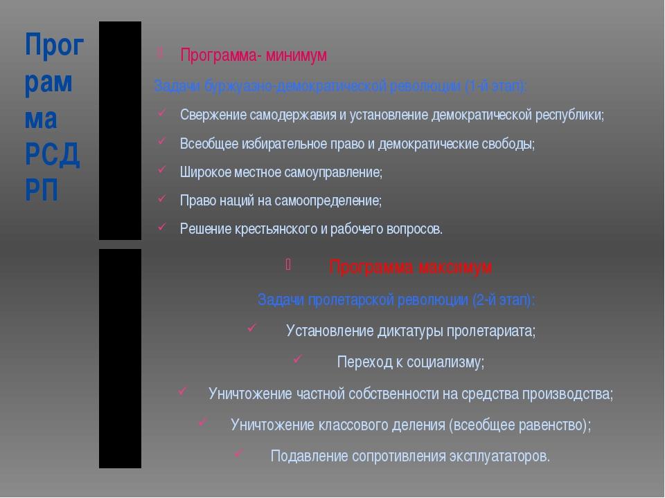Программа РСДРП Программа- минимум Задачи буржуазно-демократической революции...