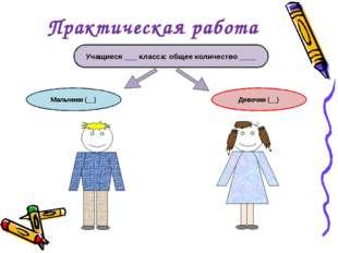 Практическая работа Учащиеся ___ класса: общее количество ____ Мальчики (__)