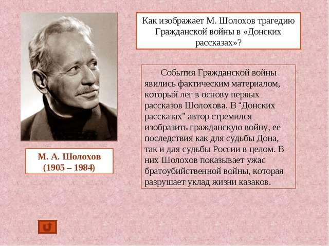 Как изображает М. Шолохов трагедию Гражданской войны в «Донских рассказах»? М...
