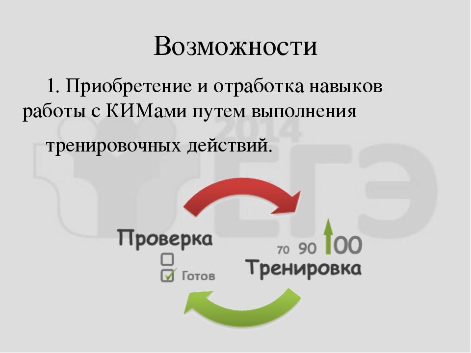 Возможности 1. Приобретение и отработка навыков работы с КИМамипутемвыполн...