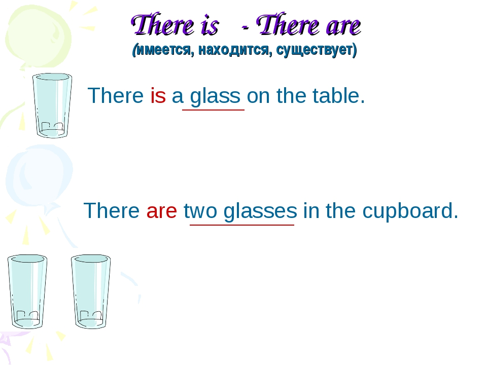 There is - There are (имеется, находится, существует) There is a glass on the...