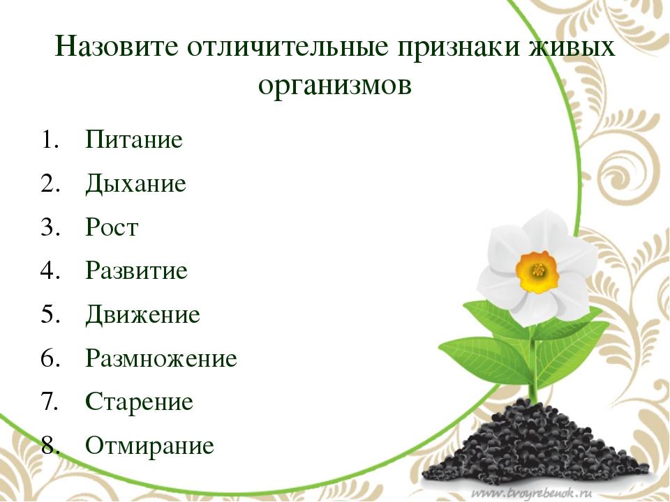 Назовите отличительные признаки живых организмов Питание Дыхание Рост Развити...