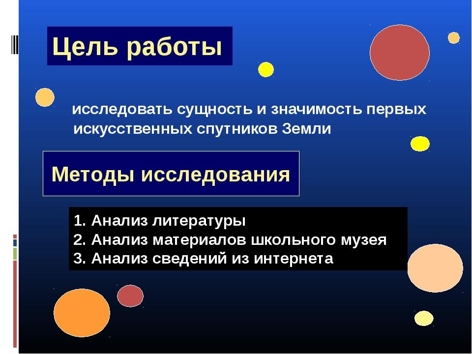 Цель работы исследовать сущность и значимость первых искусственных спутников...