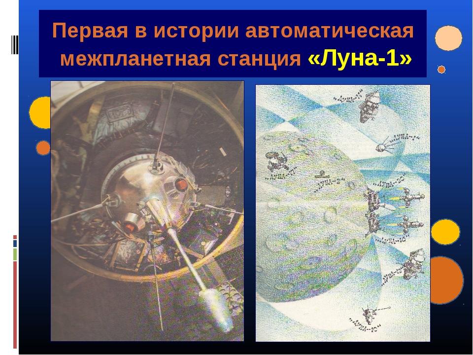 Первая в истории автоматическая межпланетная станция «Луна-1»