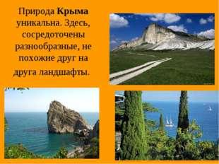 Природа Крыма уникальна. Здесь, сосредоточены разнообразные, не похожие друг