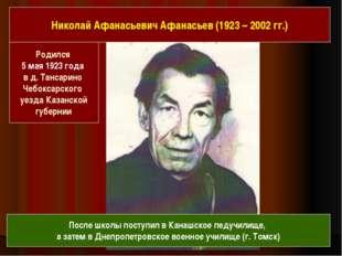 Родился 5 мая 1923 года в д. Тансарино Чебоксарского уезда Казанской губерни