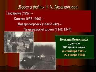 Дорога войны Н.А. Афанасьева Тансарино (1937) – Канаш (1937-1940) – Днепропет