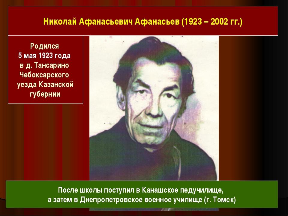Родился 5 мая 1923 года в д. Тансарино Чебоксарского уезда Казанской губерни...