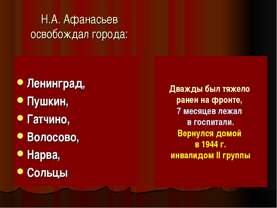 Н.А. Афанасьев освобождал города: Ленинград, Пушкин, Гатчино, Волосово, Нарва...