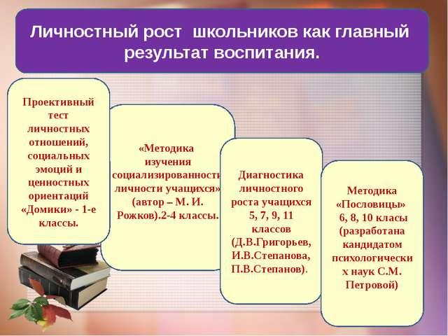 Личностный рост школьников как главный результат воспитания. «Методика изуче...