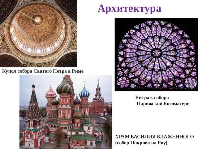 Архитектура Купол собора Святого Петра в Риме Витраж собора Парижской Богомат...