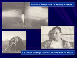 9 часов 07 минут по московскому времени В 10 часов 55 минут «Восток» возврати
