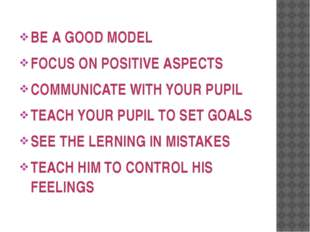 BE A GOOD MODEL FOCUS ON POSITIVE ASPECTS COMMUNICATE WITH YOUR PUPIL TEACH