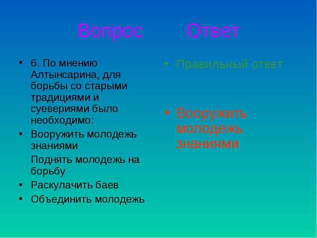Вопрос Ответ 6. По мнению Алтынсарина, для борьбы со старыми традициями и суе...
