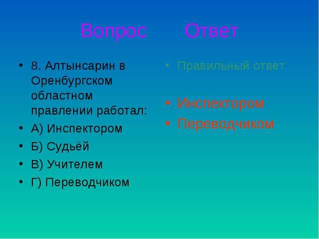 Вопрос Ответ 8. Алтынсарин в Оренбургском областном правлении работал: А) Инс...