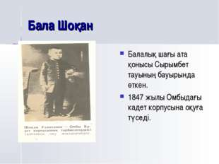 Бала Шоқан Балалық шағы ата қонысы Сырымбет тауының бауырында өткен. 1847 жыл