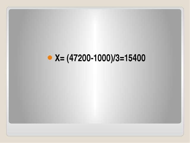 X= (47200-1000)/3=15400