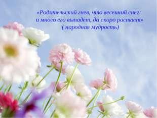 «Родительский гнев, что весенний снег: и много его выпадет, да скоро растает»