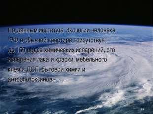 По данным института Экологии человека РФ в обычной квартире присутствует до