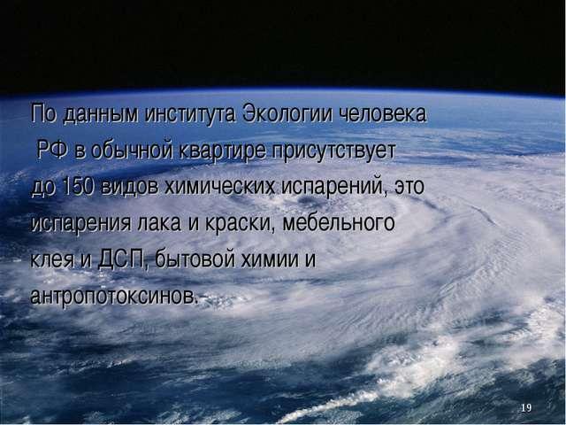 По данным института Экологии человека РФ в обычной квартире присутствует до...