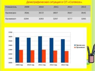 Демографическая ситуация в СП «Соляное». Показатель 2009 2010 2011 2012