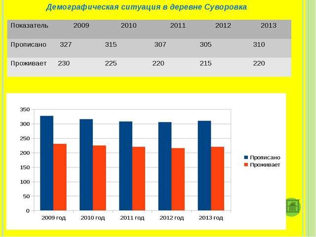 Демографическая ситуация в деревне Суворовка Показатель 2009 2010 2011 20...